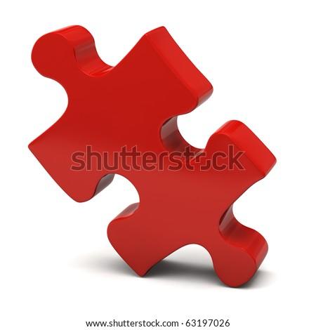 Red Jigsaw Piece - stock photo