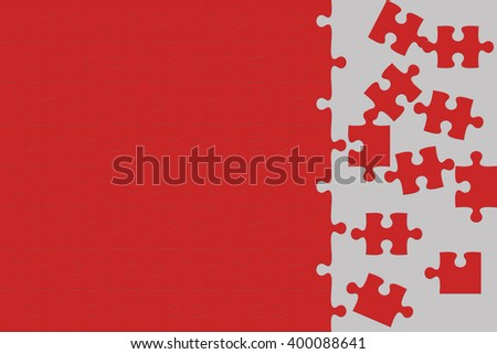 Red Jigsaw puzzle - stock photo