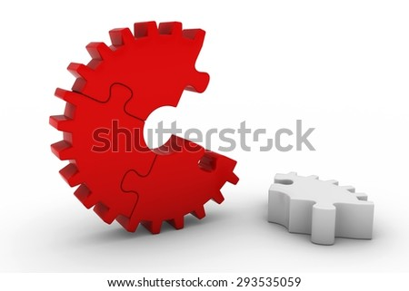 Red Jigsaw Puzzle Cog Wheel with White Piece on Floor on White Background
