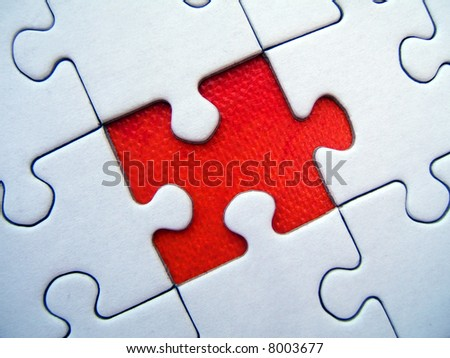 Red jigsaw puzzle element