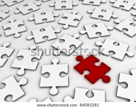 Red jigsaw puzzle stand out from the crowd - stock photo