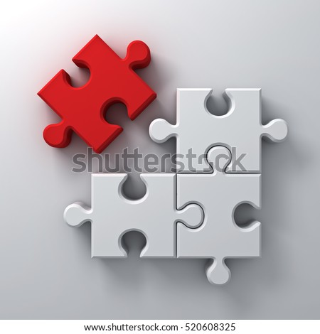 Red jigsaw puzzle the last piece stand out from the crowd different concept on white wall background with shadow. 3D rendering.