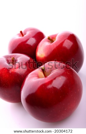 Red juicy apples - stock photo