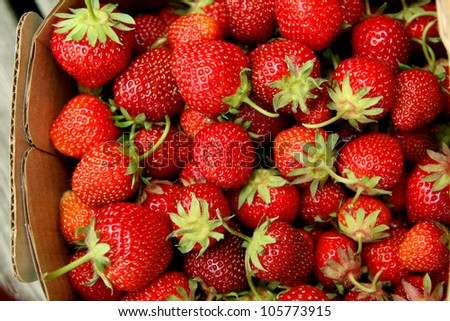 Red juicy strawberries with stems  in a basket