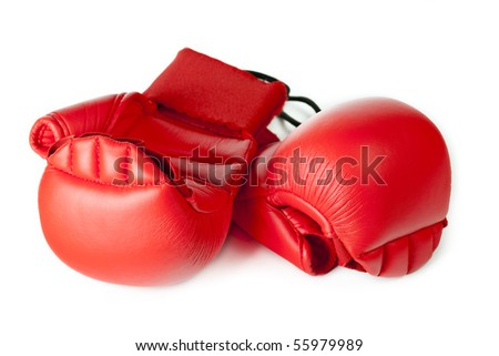 Red karate gloves. Isolated on white.