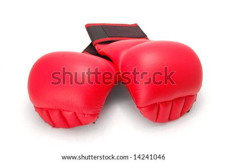 Red karate gloves. Isolated on white. Clipping path included.