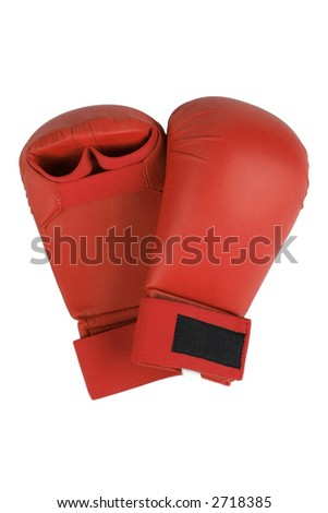 Red karate gloves. Isolated on white. Clipping path included. - stock photo