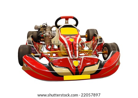 red kart isolated in white - stock photo