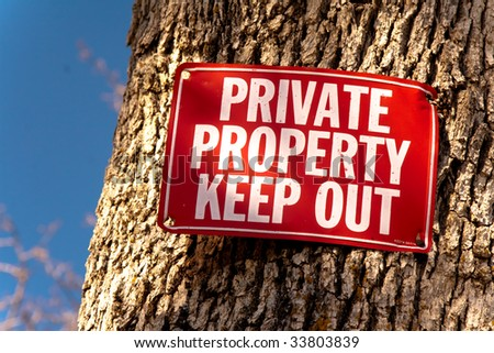 Red Keep Out sign nailed to tree trunk, a sliver of blue sky on left of frame - stock photo