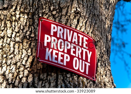 red Keep Out sign nailed to tree trunk, a sliver of blue sky on right of frame - stock photo