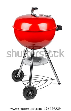 red kettle grill in front of white background - stock photo