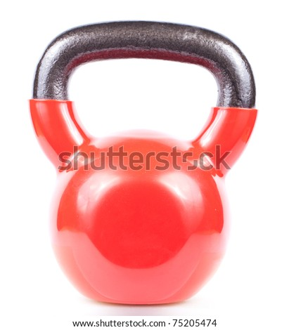 Red kettlebell isolated on white background - stock photo