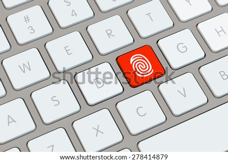 Red key with fingerprint icon on a computer keyboard (3D Rendering) - stock photo