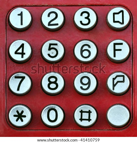 Red keypad with metal buttons