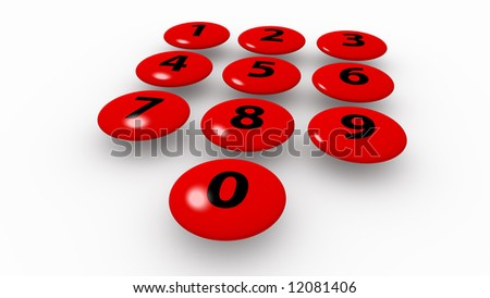 Red keys floating over the white ground, XXL - stock photo