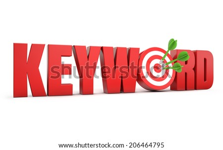 red keyword text and dart hitting a target isolated white background - stock photo