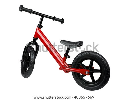 red kick scooter, isolated on white. kids' transport - stock photo