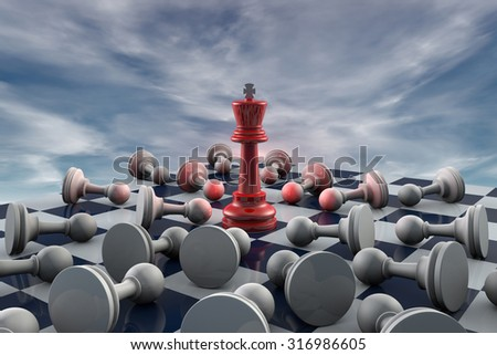 Red king and many gray pawn (fantastic background). - stock photo