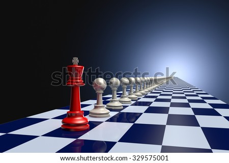 Red king and pawn on a long gray chessboard. Dark artistic background.