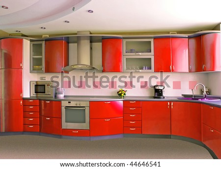 red kitchen - stock photo