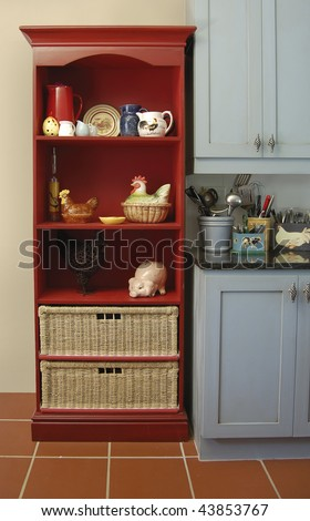 Red Kitchen Dresser - stock photo