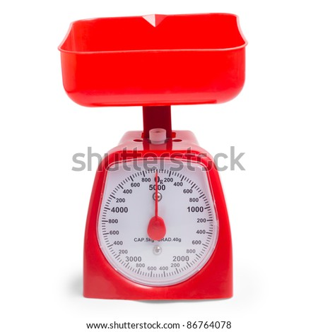 red kitchen scales isolated on white background