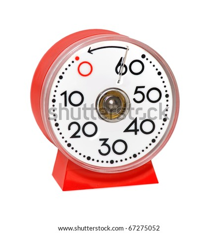 red kitchentimer isolated on white background - stock photo