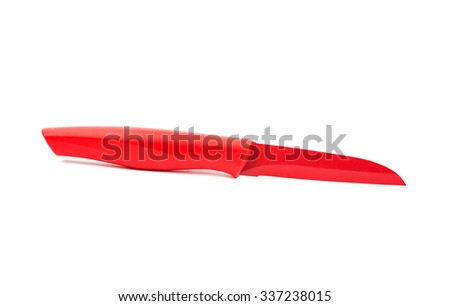 Red knife on a white background