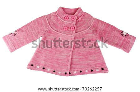 Red knit dress with buttons on a white background - stock photo
