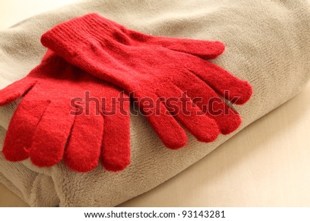 Red knit gloves for winter image