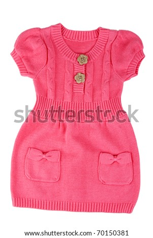 Red knitted baby dress on a white background - stock photo