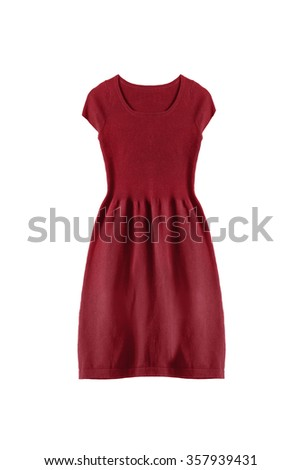 Red knitted sleeveless dress on white background