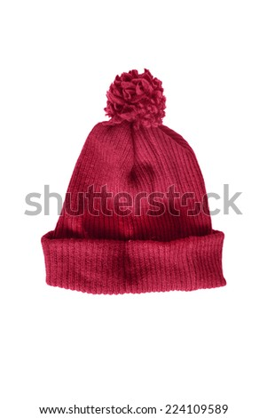 Red knitted warm cap isolated over white - stock photo
