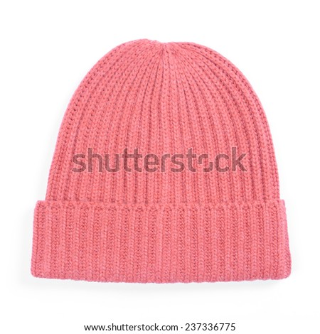 Red knitted wool hat isolated on white - stock photo