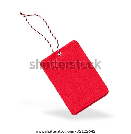 Red label isolated from background - stock photo