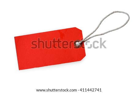 Red label (tag) isolated on white background