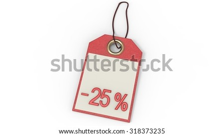 Red label with inscription or minus twenty five percent price tag with string isolated on white background