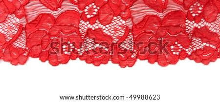 Red lace insulated on black background - stock photo