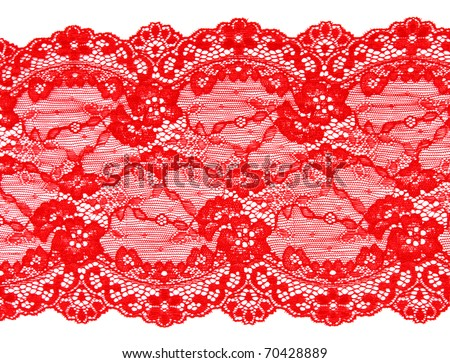 Red lace with pattern in the manner of flower on white background - stock photo