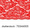 Red lace with pattern with form flower on white background - stock photo