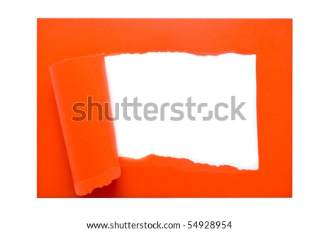 red lacerated paper on a white background for your illustrations - stock photo