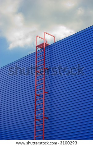 Red ladder - stock photo
