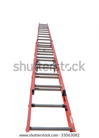 red ladder isolated against white background - stock photo