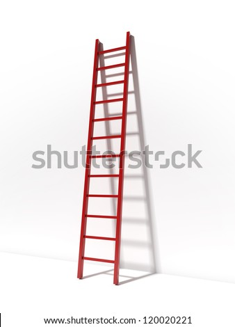 Red ladder near white wall - stock photo