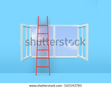 Red ladder on open window front of sky in blue room. - stock photo