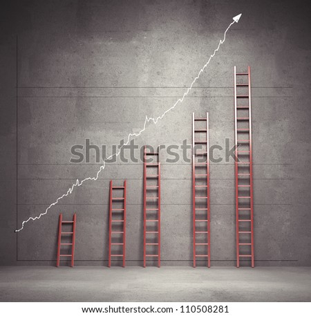 red ladders chart, business concept - stock photo