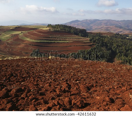red land in the southwest of china - stock photo