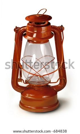 Red lantern used for camping. - stock photo