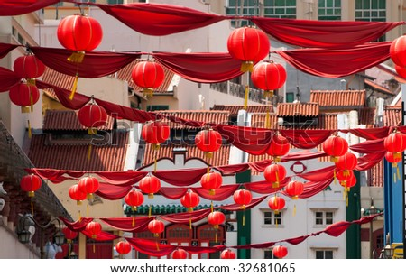 Red Lanterns and Banners in Chinatown - stock photo