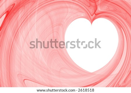 Red large abstract background with white copyspace in a shape of a heart horizontal layout - stock photo